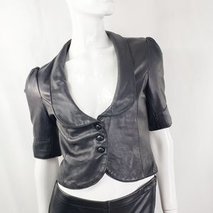 MARCIANO Cropped Short Real Leather Top Jac